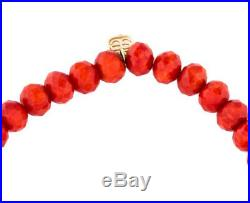 NEW Sydney Evan Pave Disc Coral Bead Bracelet Diamond 14K Yellow Gold
