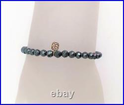 NEW Sydney Evan Pave Disc Hematite Bead Bracelet Diamond 14K Yellow Gold