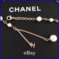 NIB CHANEL pearls bracelet CC LOGO Gold chain hand chain
