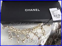 NWT CHANEL $1750 2016 CC Bracelet GOLD Quilted Pearl Jewel Crystal Ivory 16A NEW
