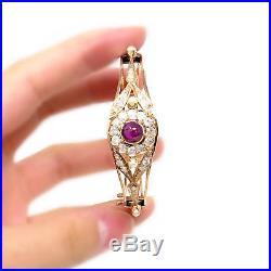 NYJEWEL 14k Rose Gold Vintage Rhodolite Garnet Diamond Pearl Bangle Bracelet