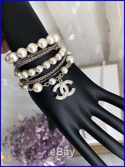 New 2019 Authentic CHANEL Classic CC Gold Multi-Strand Pearl Chain Bracelet
