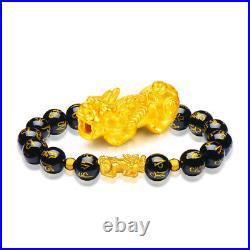 New 24K Yellow Gold 3D Craft Pixiu Bead Black Six-Word Bead Bracelet 19cm