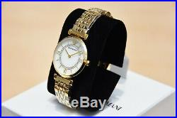 New Armani Ar1907 Womens Gianni T-bar Watch Gold Strap Pearl Dial Rrp £369.00
