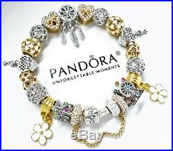New Authentic Pandora Charm Bracelet With Silver & Gold Crystal European Charms