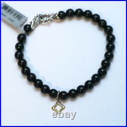 New DAVID YURMAN 7.25 6mm Black Onyx Bead Bracelet Gold Quatrefoil Charm NWT