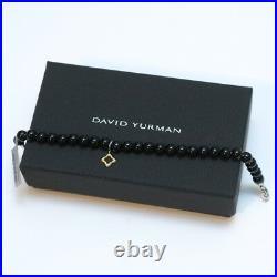 New DAVID YURMAN 7.5 6mm Black Onyx Bead Bracelet Gold Quatrefoil Charm NWT