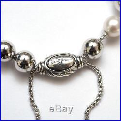 New DAVID YURMAN 8mm Spiritual Bead Bracelet Popcorn Pearl, Silver, Gold