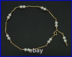 New Exquisite 14K Solid Gold 4mm Pearl Beaded Anklet bracelet 9- 10'