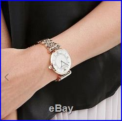 New Genuine Emporio Armani Ar1909 Womens Watch Gianni T-bar Rose Gold Pearl Dial