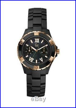 New Guess Collection Gc Lady Watch Rose Gold Xl-s Glam Black Ceramic X69004l2s