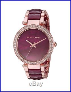 New Michael Kors Parker Rose Gold Plum Acetate Women's Crystal Watch MK6412