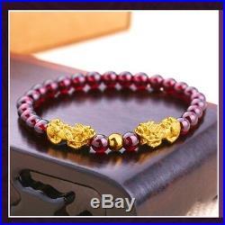 New Pure24K Yellow Gold Bracelet 146mm Two 3D Pixiu Link 3mm Lucky Bead& Garnet