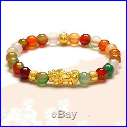 New Pure 24K Yellow Gold Bracelet Woman Colorful Agate Bead Link 3D Lucky Pixiu