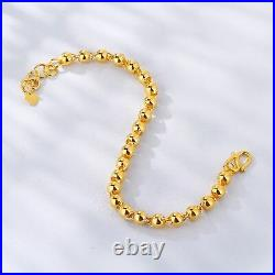 New Pure 24K Yellow Gold Bracelet Woman's Smooth Elegant Bead Link Chain 7.1L