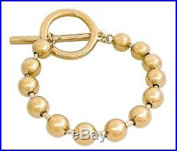 New Uno De 50 Gold Tone Bead Ball On-Off Toggle Bar Bracelet L