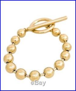 New Uno De 50 Gold Tone Bead Ball On-Off Toggle Bar Bracelet M