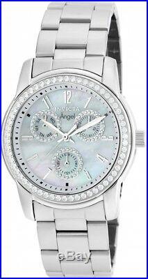 New Womens Invicta 18753 Angel Crystal Bezel MOP Dial Steel Bracelet Watch