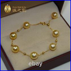 Nice AAA+ 8mm natural south sea golden round pearl bracelet 18k adjustable