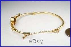 PRETTY ANTIQUE LATE VICTORIAN ENGLISH 15K GOLD AMETHYST & PEARL BANGLE c1890