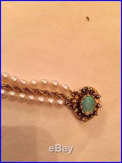 Pearl And Fiery Opal 14k Gold Bracelet