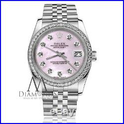 Pink Mother Of Pearl Rolex 31mm Datejust Diamond Accent Jubilee SS Ladies Watch