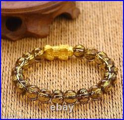 Pure 24K Yellow Gold Bracelet 1g 3D Bless Pixiu&10mm Lucky Smoky Quartz Bead
