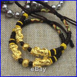 Pure 24K Yellow Gold Bracelet 3D Pixiu with Gold Bead Black Knitted Bracelet
