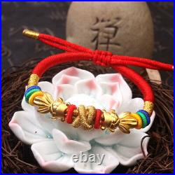 Pure 24K Yellow Gold Two Fish Bead Bracelet Lucky Red Cord Knitted Bracelet