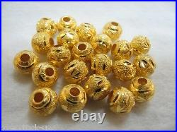 Pure 999 24K Yellow Gold loose carved Bead for knitted Bracelet