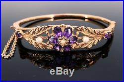 Quality 9ct Gold Victorian Edwardian Vintage Amethyst Pearl Bangle Bracelet