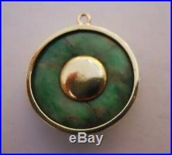 RARE HANDMADE Vintage 14k Gold JADE & GRAY PEARL Bracelet Charm 1.8 Gr #17155E