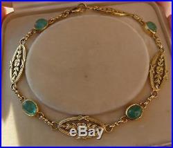 RARE bracelet ancien or 18 carats 10,48 gr 4 émeraudes cabochon bangle gold 18K