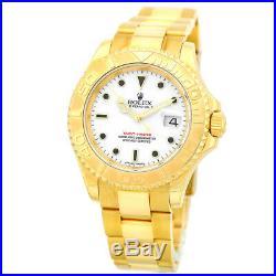 ROLEX 18K 40mm Yellow Gold Yachtmaster White Automatic 16628 Warranty Box MINTY