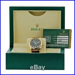ROLEX 18K Yellow Gold 36mm Datejust 116138 Black Dial Warranty Card Box MINTY