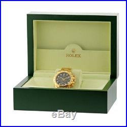 ROLEX 18K Yellow Gold 40mm Diamond Daytona Cosmograph 116528 Warranty Box MINTY