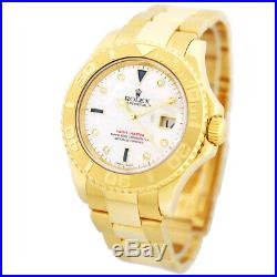 ROLEX 18K Yellow Gold 40mm Yachtmaster Mother of Pearl Diamond 16628 Warranty