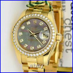 ROLEX Lady Datejust President Gold Black Mother of Pearl Diamond 179138