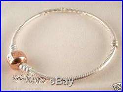 ROSE GOLD Plated SILVER Authentic PANDORA 2 TONE Charm/Beads Bracelet 7.5 19cm