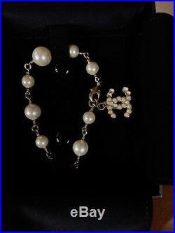 Rare Authentic CHANEL CC Logo Gold Faux Pearl Bracelet