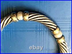Rare David Yurman 925/14k Sterling Silver/gold & Pearl Bracelet