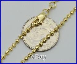 Real 10K Yellow Gold Moon Cut Bead Ball Chain Bracelet 2mm 6'' -7 1/ 4'' 2.9gr