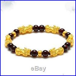 Real 24K Yellow Gold Bracelet Woman's 3D Lucky Pixiu 6pcs Link Garnet Bead