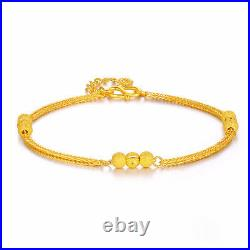 Real 24K Yellow Gold Bracelet Woman's Wheat Link Bead Lucky Chain 7.3L New