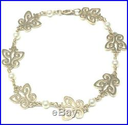Retired James Avery 14K Yellow Gold Butterfly With Pearls Link Bracelet, 7 1/2