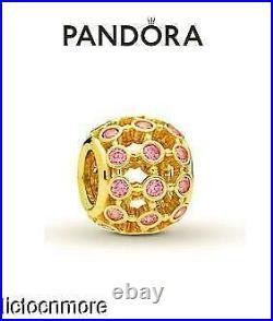 Retired Pandora 14k Gold Bracelet Charm In The Spotlight Pink 750825cz New $400