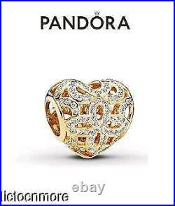 Retired Pandora 14k Gold Bracelet Charm Love & Appreciation Heart 750837cz New