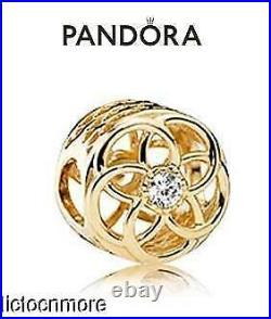 Retired Pandora 14k Gold Bracelet Charm Loving Bloom 750598cz New $400