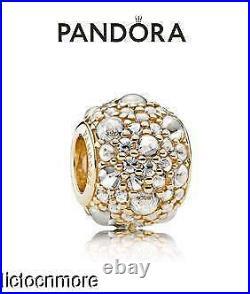 Retired Pandora 14k Gold Bracelet Charm Shimmering Droplets 751000cz New $425