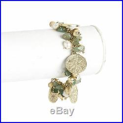 Rivka Friedman 18K Gold Clad Aventurine & Pearl Charm Bracelet
